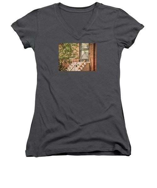 Pumpkin Portico Women's V-Neck T-Shirt (Junior Cut)