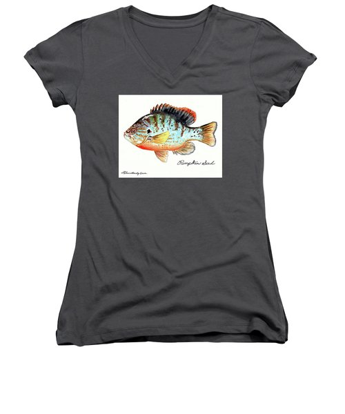 Women's V-Neck T-Shirt (Junior Cut) featuring the painting Pumpkin Seed Fish by LeAnne Sowa