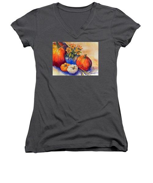 Pumpkins And Blue Vase Women's V-Neck