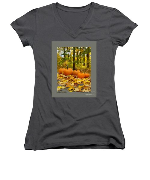 Women's V-Neck T-Shirt (Junior Cut) featuring the photograph Pumpkins And Woods-ii by Patricia Overmoyer