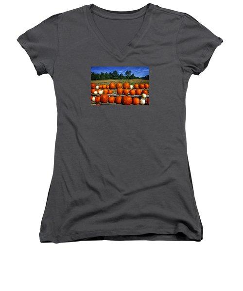 Pumpkins In A Row Women's V-Neck T-Shirt (Junior Cut) by Dee Flouton