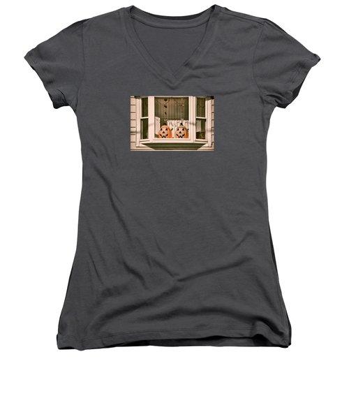Pumpkins Of The Past Women's V-Neck T-Shirt (Junior Cut) by JAMART Photography