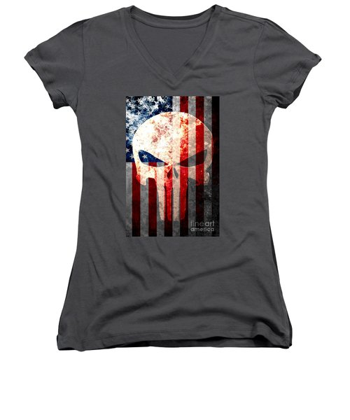 Punisher Skull And American Flag On Distressed Metal Sheet Women's V-Neck T-Shirt (Junior Cut) by M L C