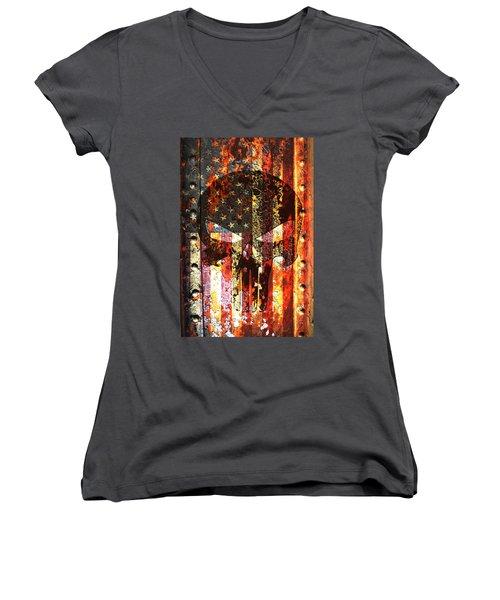 Punisher Skull On Rusted American Flag Women's V-Neck T-Shirt