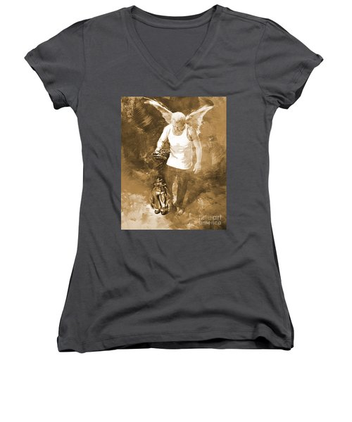 Women's V-Neck T-Shirt (Junior Cut) featuring the painting Puppet Show by Gull G