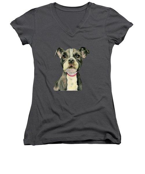 Puppy Eyes Women's V-Neck (Athletic Fit)