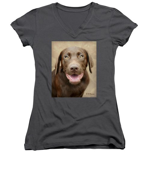 Puppy Power Women's V-Neck T-Shirt (Junior Cut) by Kathy M Krause