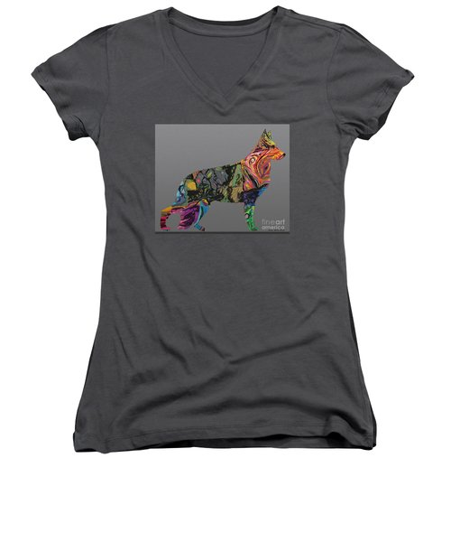 Women's V-Neck T-Shirt (Junior Cut) featuring the digital art Pure Emotion Gsd by Ania M Milo