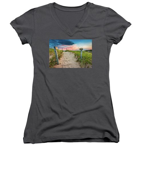 Women's V-Neck T-Shirt featuring the photograph Pure Michigan Sunset by Sebastian Musial