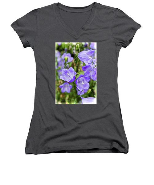Purple Bell Flowers Women's V-Neck T-Shirt
