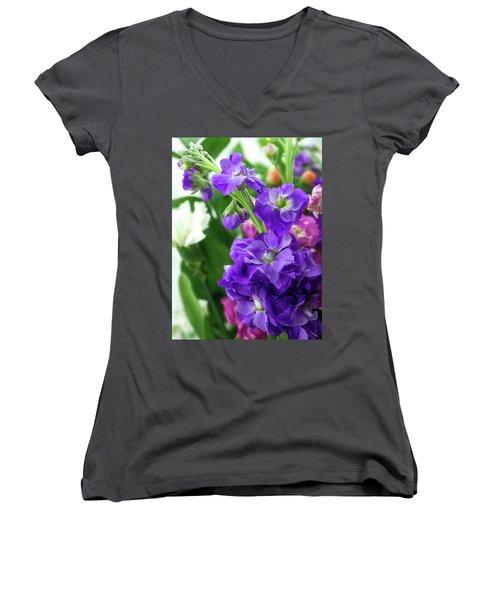 Purple Bouquet Women's V-Neck (Athletic Fit)