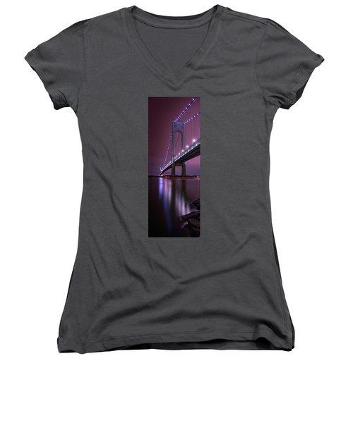 Women's V-Neck featuring the photograph Purple Bridge by Edgars Erglis
