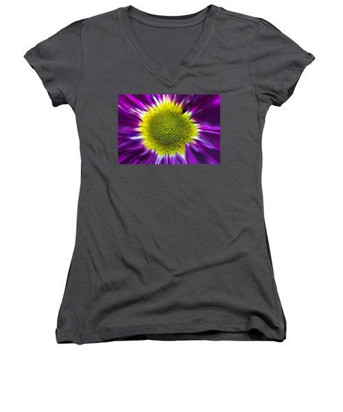Purple Burst Women's V-Neck T-Shirt