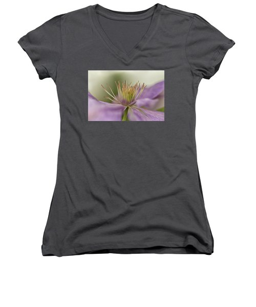 Women's V-Neck T-Shirt (Junior Cut) featuring the photograph Purple Clematis Macro by Jacqi Elmslie