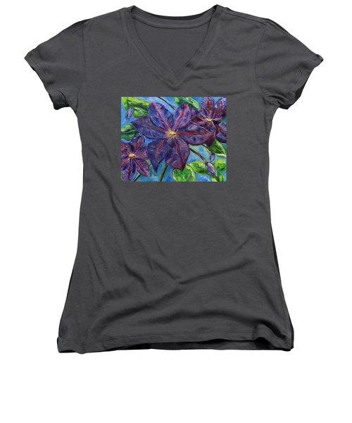 Purple Clematis Women's V-Neck (Athletic Fit)