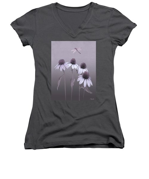 Purple Coneflowers And Dragonfly Women's V-Neck (Athletic Fit)