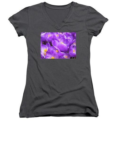 Purple Crocuses Women's V-Neck (Athletic Fit)