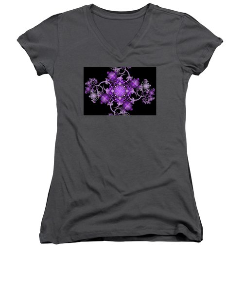 Women's V-Neck T-Shirt (Junior Cut) featuring the photograph Purple Floral Celebration by Sandy Keeton