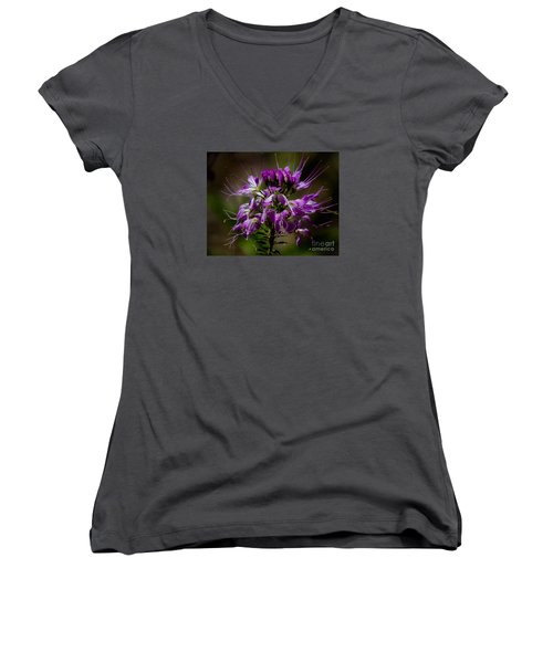 Purple Flower 1 Women's V-Neck (Athletic Fit)