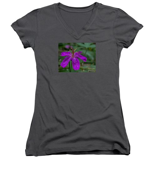 Purple Flower 5 Women's V-Neck (Athletic Fit)