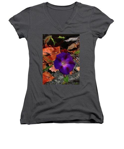 Purple Flower Autumn Leaves Women's V-Neck