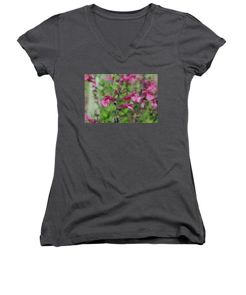 Purple Flower T-shirt Women's V-Neck T-Shirt (Junior Cut) by Isam Awad