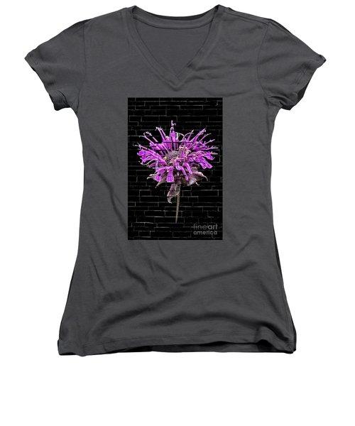 Purple Flower Under Bricks Women's V-Neck T-Shirt (Junior Cut) by Walt Foegelle