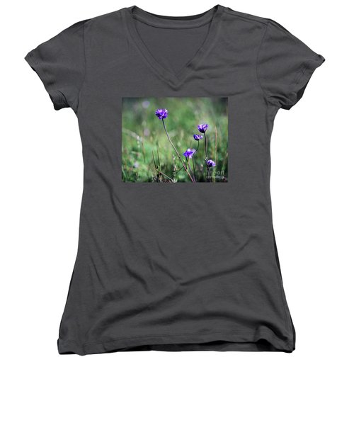 Women's V-Neck T-Shirt (Junior Cut) featuring the photograph Purple Flowers by Jim and Emily Bush