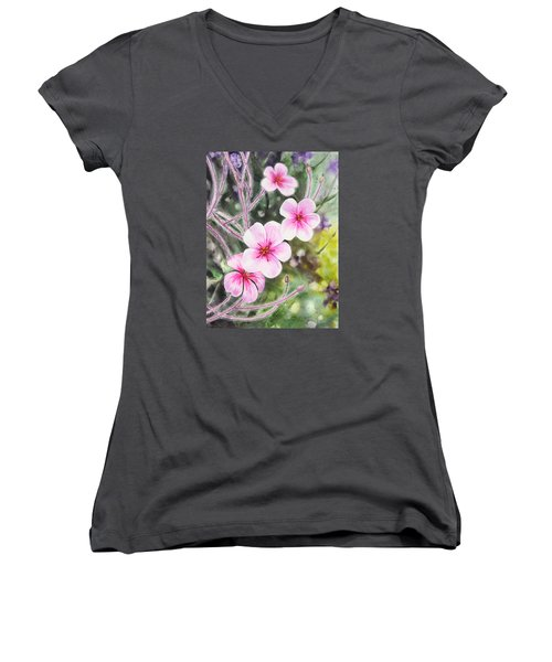 Women's V-Neck T-Shirt featuring the painting Purple Flowers In Golden Gate Park San Francisco by Irina Sztukowski