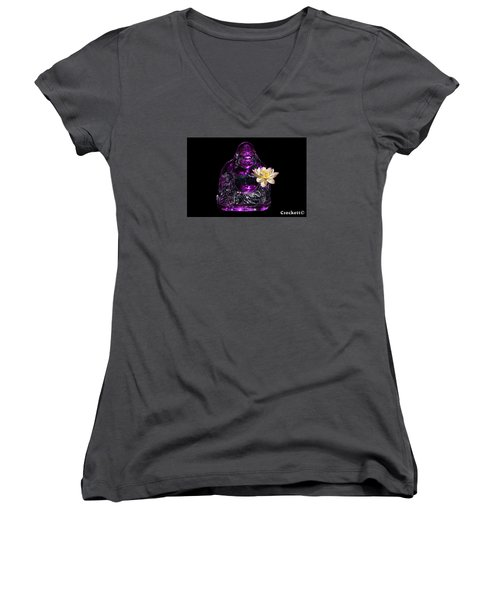 Women's V-Neck T-Shirt (Junior Cut) featuring the photograph Purple Glass Buddah With Yellow Lotus Flower by Gary Crockett