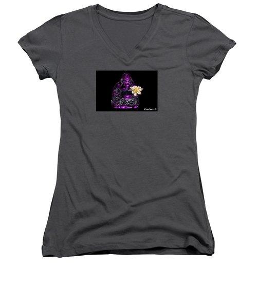 Purple Glass Buddah With Yellow Lotus Flower Women's V-Neck T-Shirt (Junior Cut)