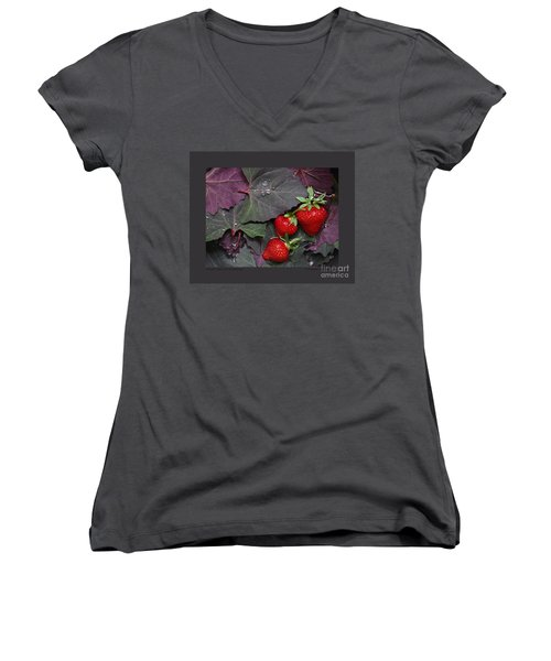 Women's V-Neck T-Shirt (Junior Cut) featuring the photograph Purple Orach With Strawberries by Patricia Overmoyer