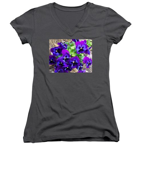Women's V-Neck T-Shirt (Junior Cut) featuring the photograph Purple Pansies by Sandi OReilly