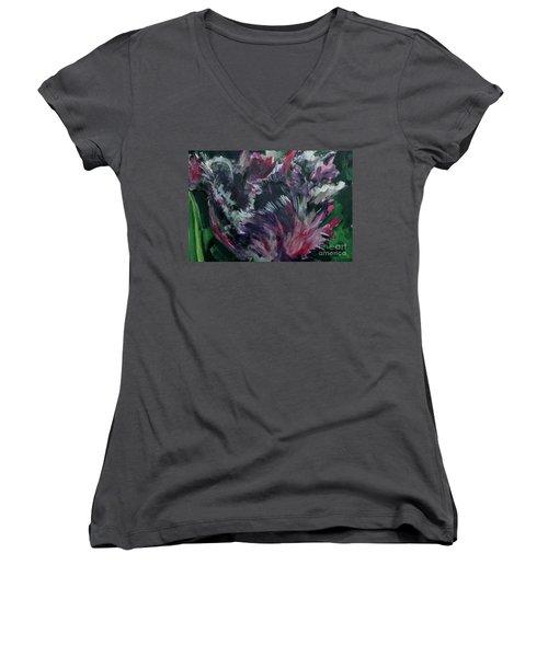 Purple Parrot Women's V-Neck T-Shirt (Junior Cut)