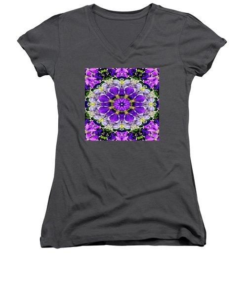 Purple Passion Floral Design Women's V-Neck T-Shirt (Junior Cut) by Carol F Austin