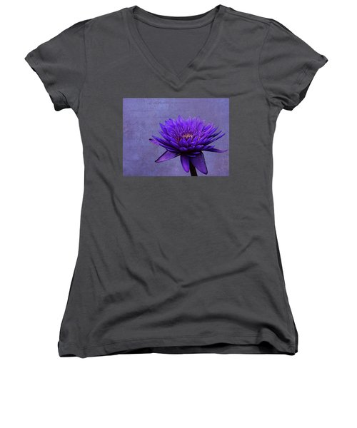 Women's V-Neck T-Shirt (Junior Cut) featuring the photograph Purple Passion by Judy Vincent