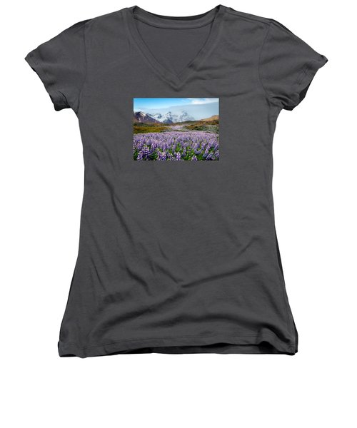 Purple Pathway Women's V-Neck T-Shirt (Junior Cut) by William Beuther