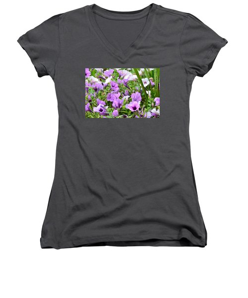 Purple Petunias Women's V-Neck