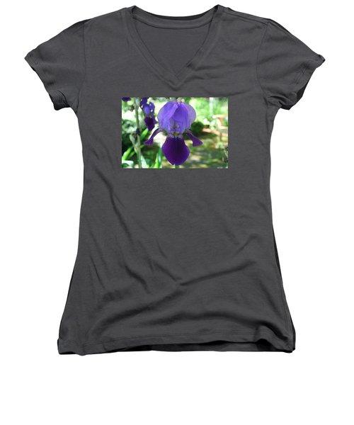Women's V-Neck T-Shirt (Junior Cut) featuring the digital art Purple Pleaser by Barbara S Nickerson