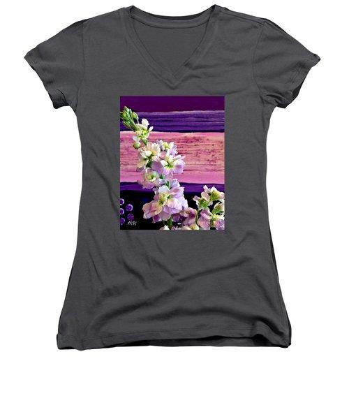Women's V-Neck T-Shirt (Junior Cut) featuring the photograph Purple Purple Everywhere by Marsha Heiken