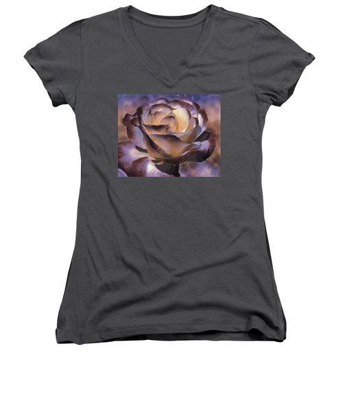 Purple Rose Women's V-Neck T-Shirt