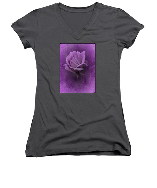 Purple Rose Of November No. 2 Women's V-Neck T-Shirt (Junior Cut) by Richard Cummings