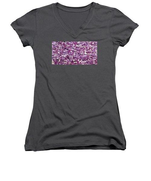 Purple Splatter Women's V-Neck T-Shirt
