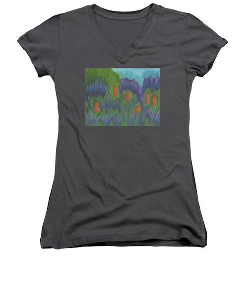 Purple Strife And Cattails Women's V-Neck
