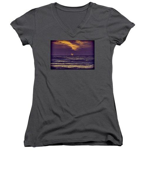 Purple Sunrise Women's V-Neck