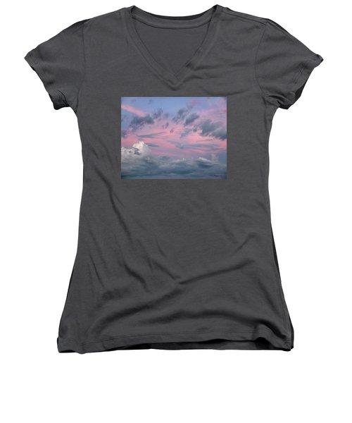 Purple Sunrise Women's V-Neck T-Shirt (Junior Cut) by Tim Fitzharris