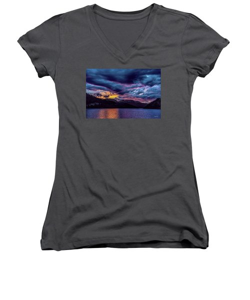 Purple Sunset At Summit Cove Women's V-Neck (Athletic Fit)