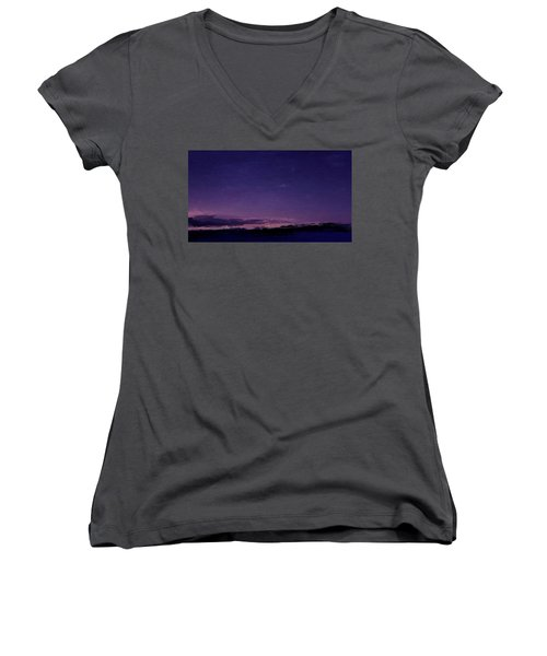 Purple Sunset Over Beach  Women's V-Neck (Athletic Fit)