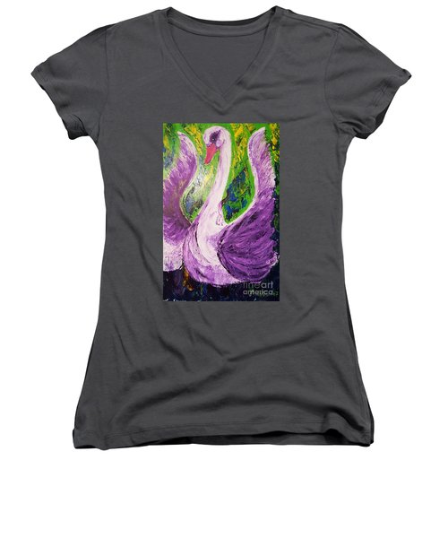 Purple Swan Women's V-Neck T-Shirt (Junior Cut) by Ania Milo