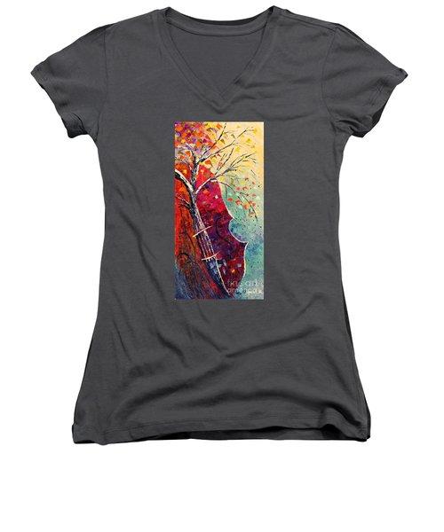 Purple Symphony Women's V-Neck T-Shirt (Junior Cut) by AmaS Art